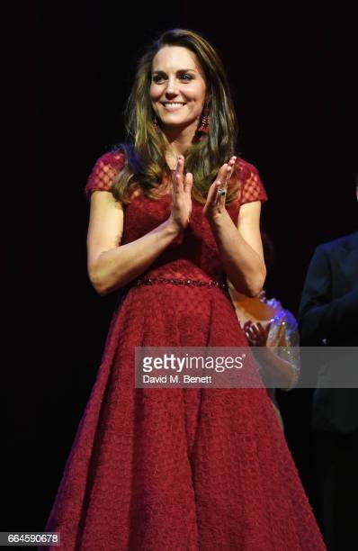 Catherine Duchess of Cambridge attends a presentation following the Opening Night Royal Gala performance of '42nd Street' in aid of the East Anglia...