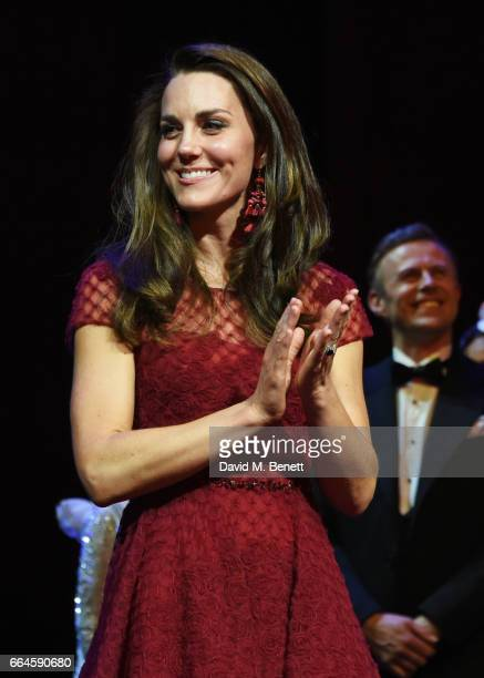 Catherine Duchess of Cambridge attends a presentation following the Opening Night Royal Gala performance of 42nd Street in aid of the East Anglia...