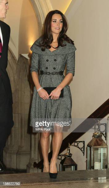 Catherine Duchess of Cambridge attends a preview of Lucian Freud paintings at the National Portrait Gallery on February 8 2012 in London England The...