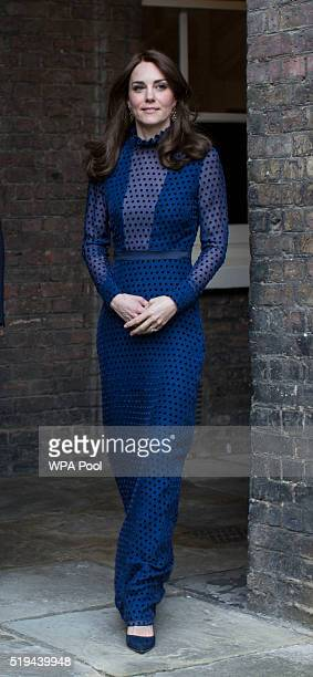 Catherine Duchess of Cambridge attends a reception ahead of their tour of India and Bhutan at Kensington Palace on April 6 2016 in London England