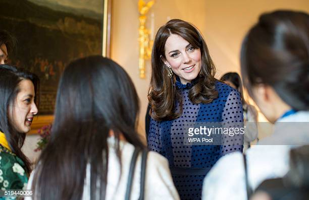 Catherine, Duchess of Cambridge attends a reception ahead of their tour of India and Bhutan at Kensington Palace on April 6, 2016 in London, England.