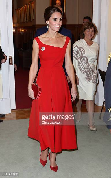 Catherine, Duchess of Cambridge attends a reception at Government House on Day 3 of a Royal Tour of Canada on September 27, 2016 in Victoria, Canada....