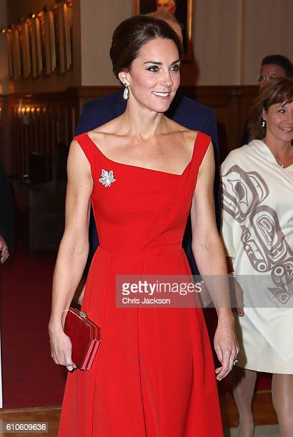 Catherine Duchess of Cambridge attends a reception at Government House on Day 3 of a Royal Tour of Canada on September 27 2016 in Victoria Canada...