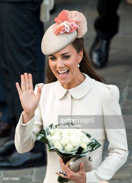 Catherine, Duchess of Cambridge attends a reception at the Grand Place on August 4, 2014 in Mons, Belgium. Monday 4th August marks the 100th...