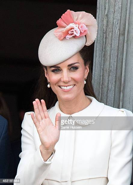 Catherine Duchess of Cambridge attends a reception at the Grand Place on August 4 2014 in Mons Belgium Monday 4th August marks the 100th Anniversary...
