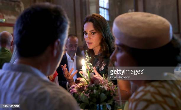 Catherine Duchess of Cambridge attends a reception at the last original dancehall in Berlin the Clärchens Ballhaus with Prince William Duke of...