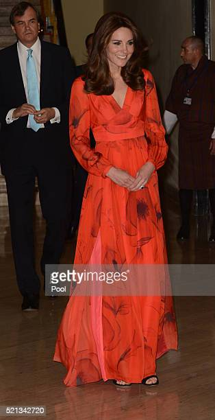 Catherine, Duchess of Cambridge attends a reception celebrating UK and Bhutanese friendship and cooperation at the Taj Hotel on April 15, 2016 in...