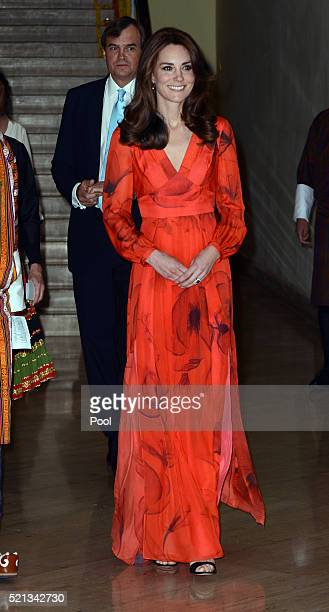 Catherine Duchess of Cambridge attends a reception celebrating UK and Bhutanese friendship and cooperation at the Taj Hotel on April 15 2016 in...