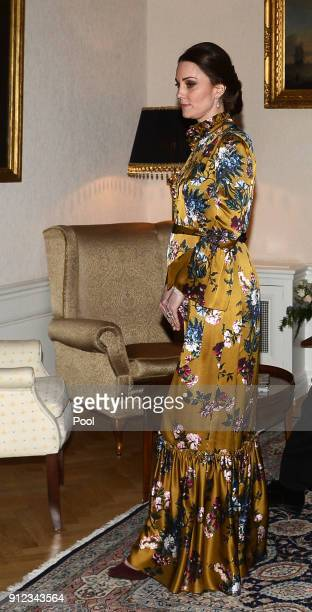 Catherine Duchess of Cambridge attends a reception dinner at the British Ambassador's residence during day one of her Royal visit to Sweden and...