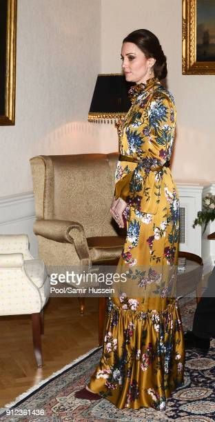 Catherine Duchess of Cambridge attends a reception dinner at the British Ambassador's residence during day one of their Royal visit to Sweden and...