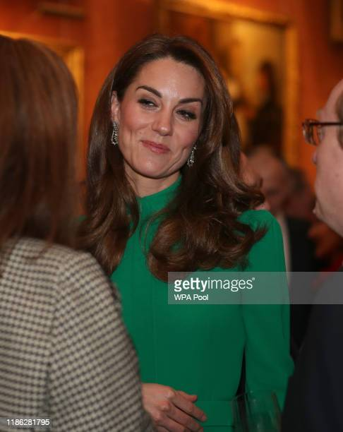 Catherine, Duchess of Cambridge attends a reception for NATO leaders hosted by Queen Elizabeth II at Buckingham Palace on December 3, 2019 in London,...