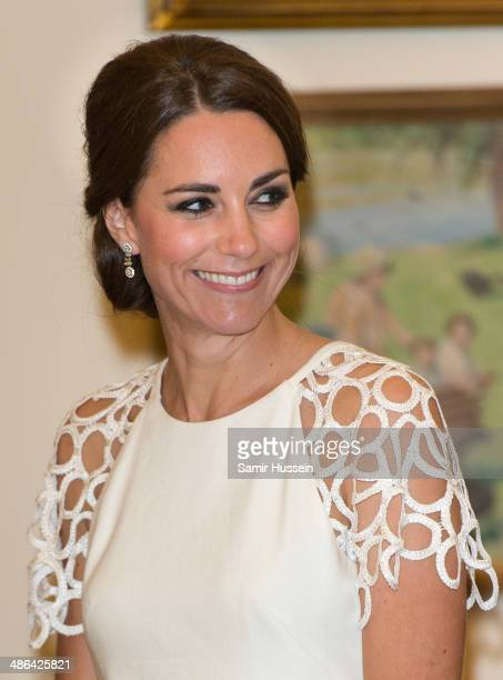 Catherine, Duchess of Cambridge attends a reception hosted by the Governor General Peter Cosgrove at Government House on April 24, 2014 in Canberra,...