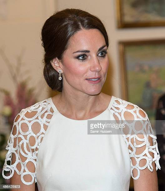 Catherine Duchess of Cambridge attends a reception hosted by the Governor General Peter Cosgrove at Government House on April 24 2014 in Canberra...