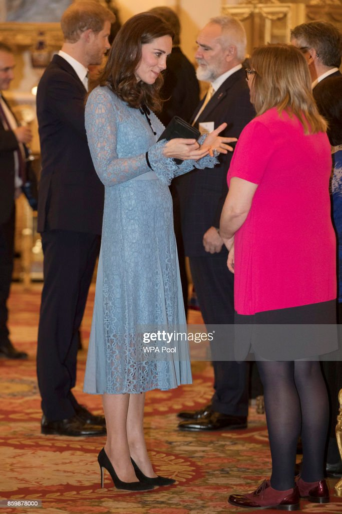 Catherine, Duchess of Cambridge attends a reception on World Mental Health Day to celebrate the contribution of those working in the mental health sector across the UK at Buckingham Palace on October 10, 2017 in London, England.