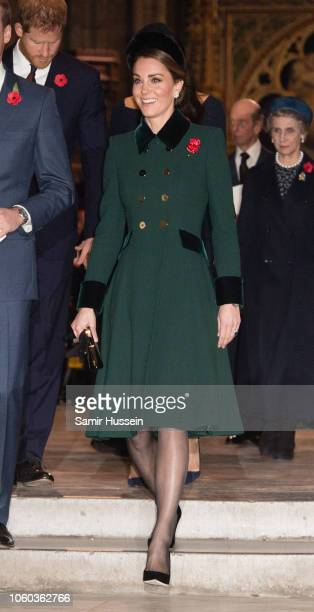 Catherine Duchess of Cambridge attends a service at Westminster Abbey marking The Centenary Of WW1 Armistice at Westminster Abbey on November 11 2018...
