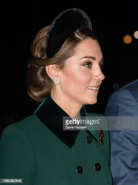 Catherine, Duchess of Cambridge attends a service at Westminster Abbey marking The Centenary Of WW1 Armistice at Westminster Abbey on November 11,...