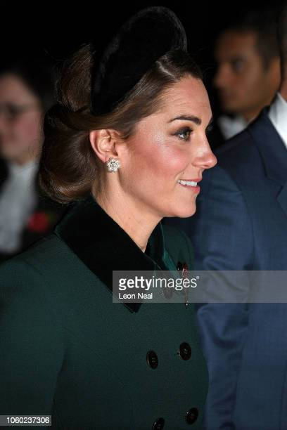 Catherine Duchess of Cambridge attends a service marking the centenary of WW1 armistice at Westminster Abbey on November 11 2018 in London England...