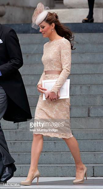 Catherine Duchess of Cambridge attends a Service of Thanksgiving to celebrate Queen Elizabeth II's Diamond Jubilee at St Paul's Cathedral on June 5...