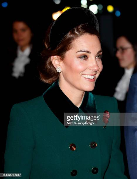 Catherine Duchess of Cambridge attends a service to mark the centenary of the Armistice at Westminster Abbey on November 11 2018 in London England...