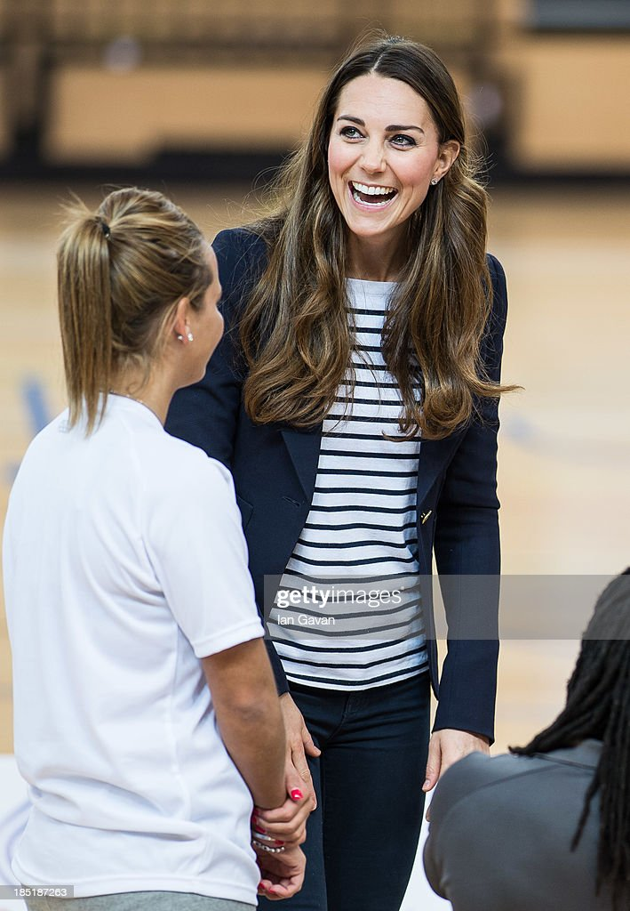 Catherine, Duchess of Cambridge attends a Sportaid Athlete Workshop at Queen Elizabeth Olympic Park on October 18, 2013 in London, England.