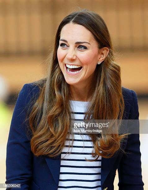 Catherine Duchess of Cambridge attends a SportsAid Athlete Workshop in the Copper Box Arena at the Queen Elizabeth Olympic Park on October 18 2013 in...