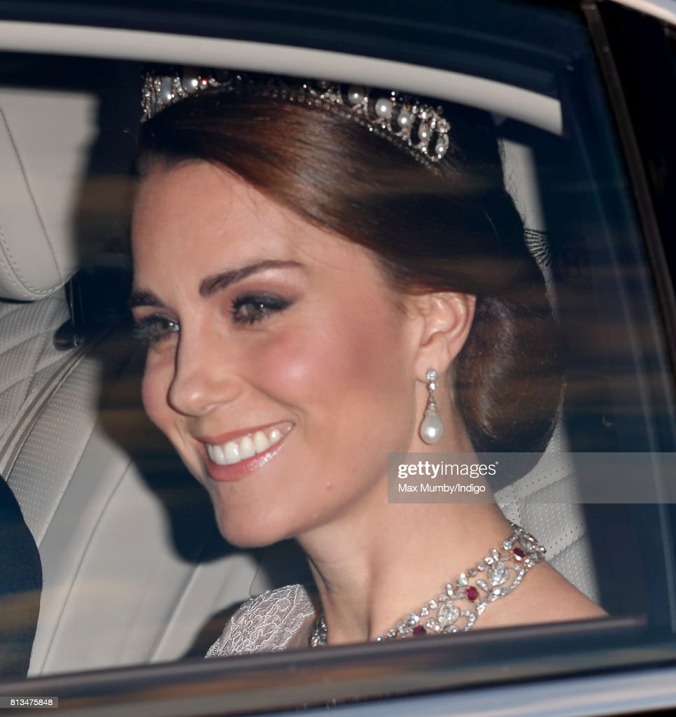 Catherine, Duchess of Cambridge attends a State Banquet at Buckingham Palace on day 1 of the Spanish State Visit on July 12, 2017 in London, England. This is the first state visit by the current King Felipe and Queen Letizia, the last being in 1986 with King Juan Carlos and Queen Sofia.