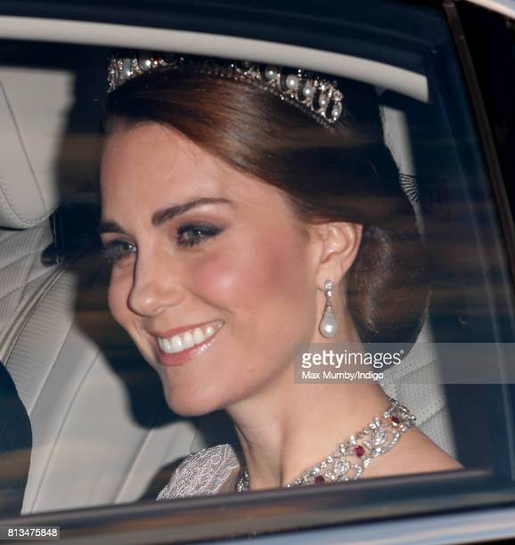 Catherine Duchess of Cambridge attends a State Banquet at Buckingham Palace on day 1 of the Spanish State Visit on July 12 2017 in London England...