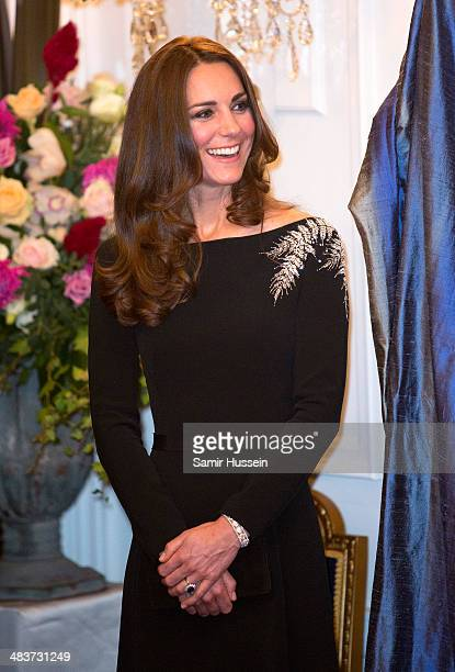 Catherine, Duchess of Cambridge attends a state reception at Government House on April 10, 2014 in Wellington, New Zealand.on April 10, 2014 in...