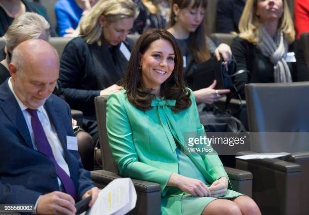 Catherine Duchess of Cambridge attends a symposium she has organised on early intervention for children and families at the Royal Society of Medicine...