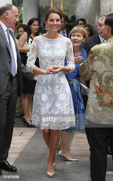 Catherine Duchess of Cambridge attends a tea party at the British High Commission on day 4 of Prince William Duke of Cambridge and Catherine Duchess...