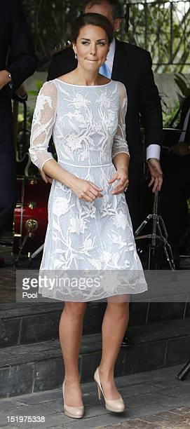 Catherine, Duchess of Cambridge attends a tea party at the British High Commission on day 4 of Prince William, Duke of Cambridge and Catherine,...