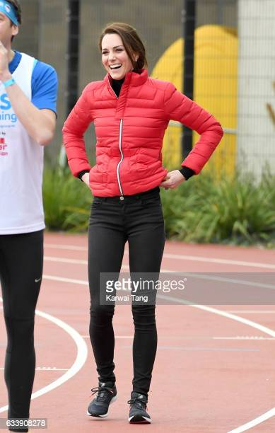 Catherine Duchess of Cambridge attends a training day for the Heads Together team for the London Marathon at Olympic Park on February 5 2017 in...