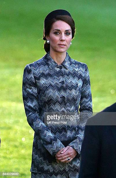 Catherine Duchess of Cambridge attends a Vigil at The Commonwealth War Graves Commission Thiepval Memorial for the Commemoration of the Centenary of...