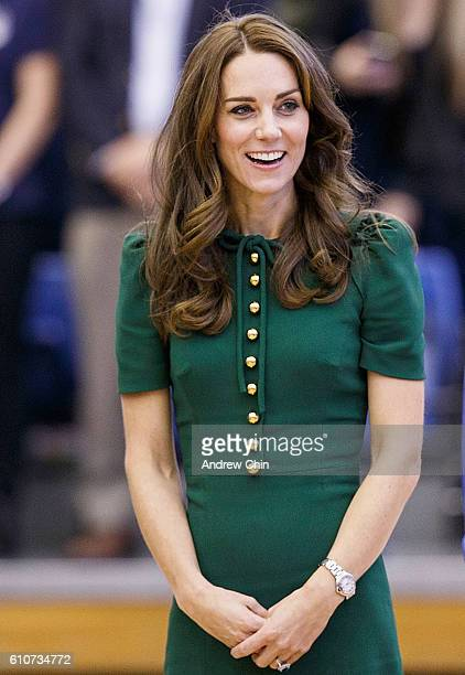 Catherine Duchess of Cambridge attends a volleyball match at University of British Columbia Okanagan on September 27 2016 in Kelowna Canada Prince...