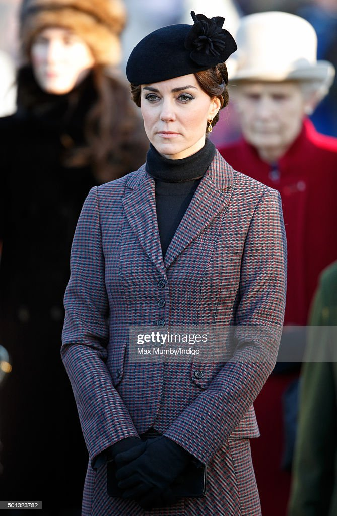 Catherine, Duchess of Cambridge attends a wreath laying ceremony to mark the 100th anniversary of the final withdrawal from the Gallipoli Peninsula at the War Memorial Cross, Sandringham on January 10, 2016 in King's Lynn, England.