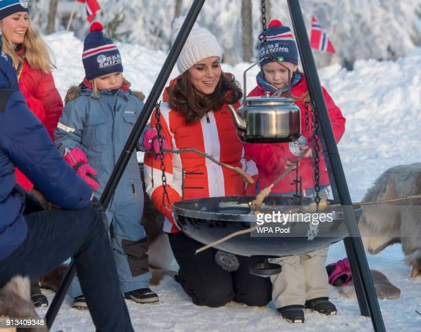 Catherine Duchess of Cambridge attends an event organised by the Norwegian Ski Federation with Prince William Duke of Cambridge where they join local...