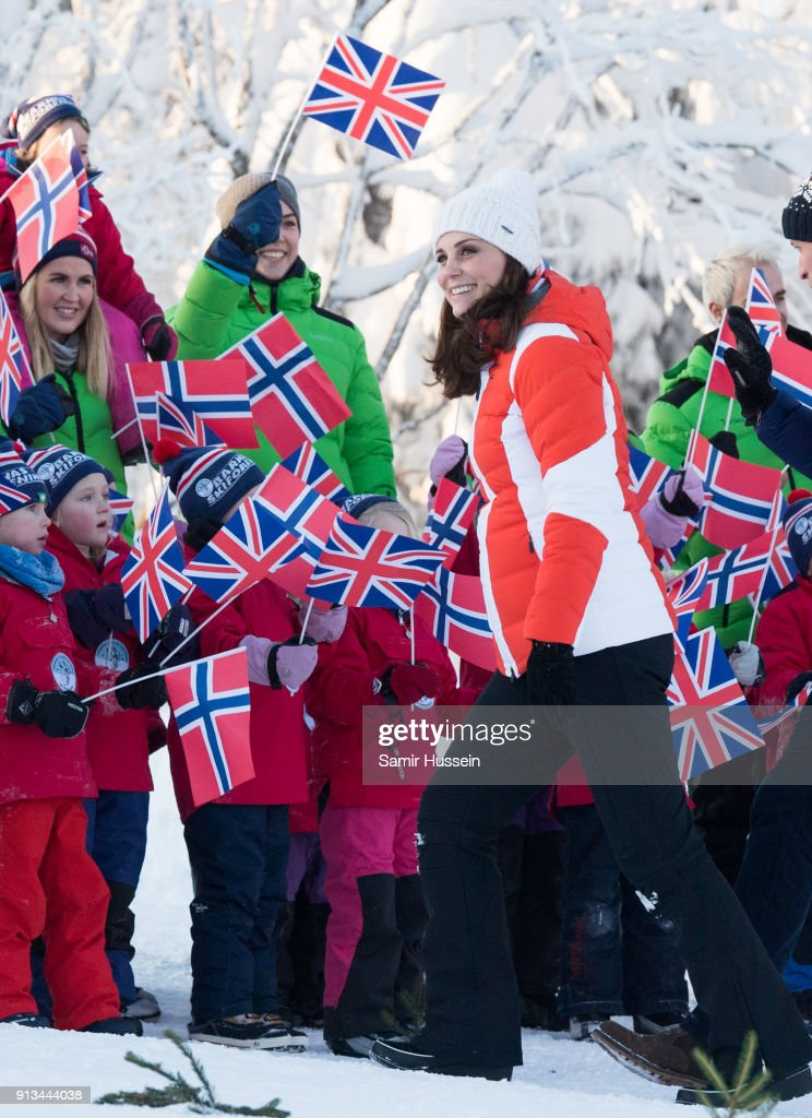 Catherine, Duchess of Cambridge attends an event organised by the Norwegian Ski Federation, where they join local nursery children in a number of outdoors activities at Holmenkollen ski jump on day 4 of their visit to Sweden and Norway on February 2, 2018 in Oslo, Norway.