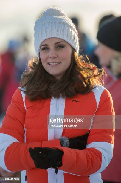 Catherine Duchess of Cambridge attends an event organised by the Norwegian Ski Federation where they join local nursery children in a number of...