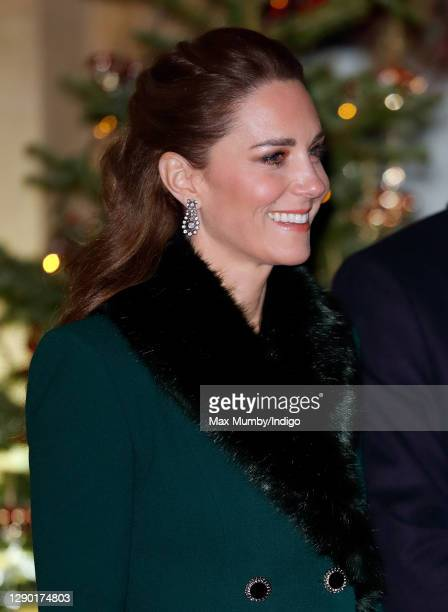 Catherine, Duchess of Cambridge attends an event to thank local volunteers and key workers from organisations and charities in Berkshire, who will be...