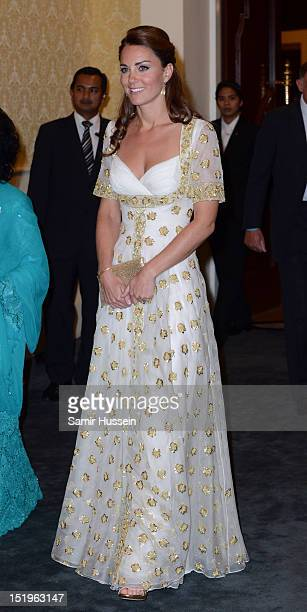 Catherine Duchess of Cambridge attends an official dinner hosted by Malaysia's Head of State Sultan Abdul Halim Mu'adzam Shah of Kedah on Day 3 of...