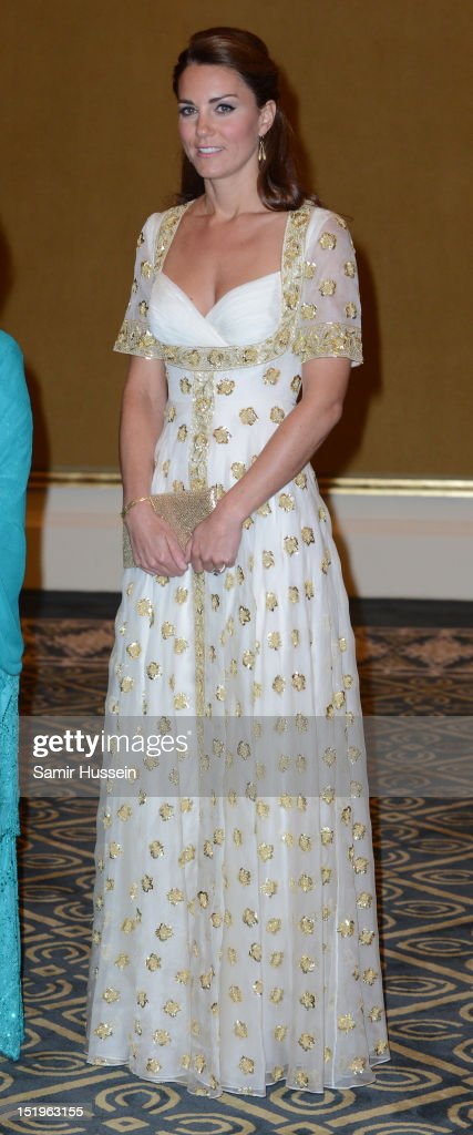 Catherine, Duchess of Cambridge attends an official dinner hosted by Malaysia's Head of State Sultan Abdul Halim Mu'adzam Shah of Kedah on Day 3 of Prince William, Duke of Cambridge and Catherine, Duchess of Cambridge's Diamond Jubilee Tour of South East Asia at the Istana Negara on September 13, 2012 in Kuala Lumpur, Malaysia.