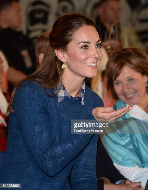 Catherine, Duchess of Cambridge attends an official welcome and performance from Bella Bella First Nations Community at Wawiska Community Hall on...