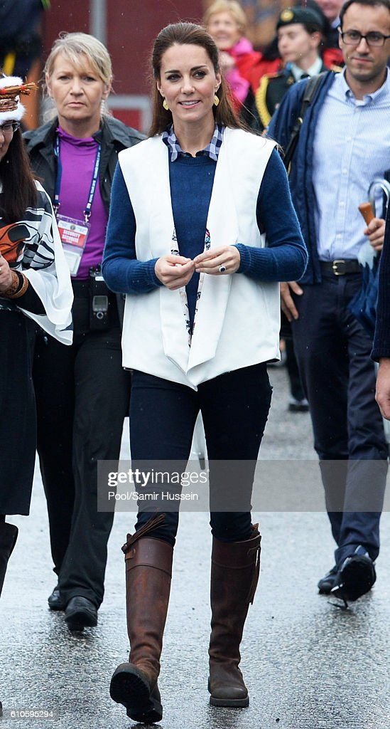 Catherine, Duchess of Cambridge attends an official welcome and performance from Bella Bella First Nations Community at Wawiska Community Hall on September 26, 2016 in Bella Bella, Canada.