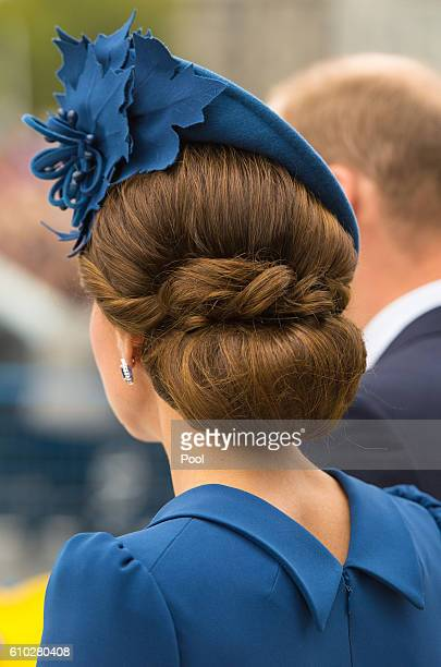 Catherine, Duchess of Cambridge attends an official welcome ceremony at the Legislative Assembly of British Columbia at Victoria International...