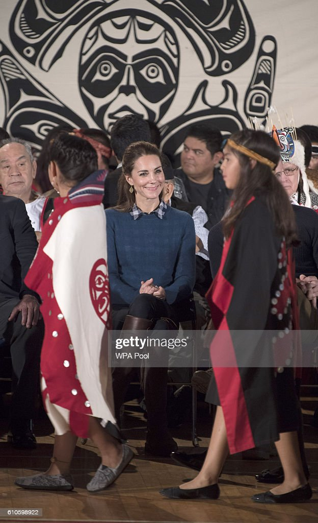 Catherine, Duchess of Cambridge attends an official welcome performance during their visit to first nations Community members on September 25, 2016 in Bella Bella, Canada. Prince William, Duke of Cambridge, Catherine, Duchess of Cambridge, Prince George and Princess Charlotte are visiting Canada as part of an eight day visit to the country taking in areas such as Bella Bella, Whitehorse and Kelowna.
