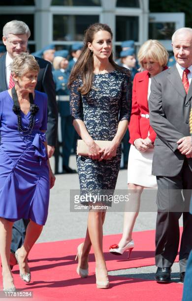 Catherine, Duchess of Cambridge attends an official welcoming ceremony at Rideau Hall on day 1 on the Royal Couple's North American Tour on June 30,...