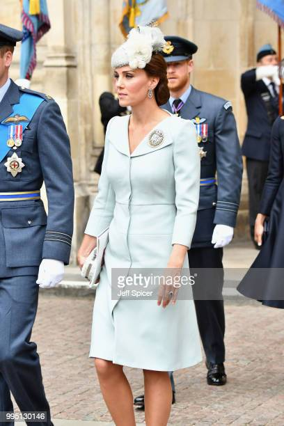 Catherine Duchess of Cambridge attends as members of the Royal Family attend events to mark the centenary of the RAF on July 10 2018 in London England