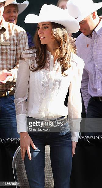 Catherine Duchess of Cambridge attends Calgary Stampede on July 8 2011 in Calgary Canada The newly married Royal Couple are on the ninth day of their...