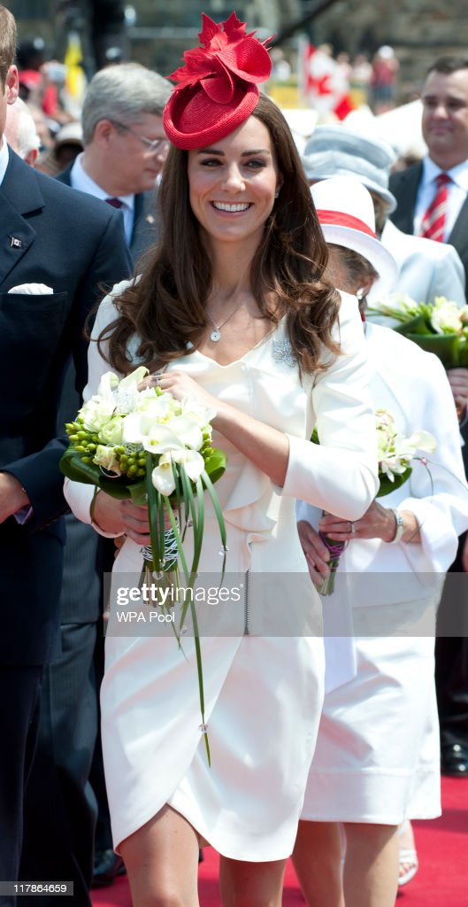 Catherine, Duchess of Cambridge attends Canada Day Celebrations at Parliament Hill on day 2 of the Royal Couple's North American Tour on July 1, 2011 in Ottawa, Canada. The newly married Royal Couple are on the second day of their first joint overseas tour. Ottawa is the start of a 12 day visit to North America which will take in some of the more remote areas of the country such as Prince Edward Island, Yellowknife and Calgary. The Royal couple will be joining millions of Canadians in taking part in today's Canada Day celebrations which mark Canada's 144th Birthday.