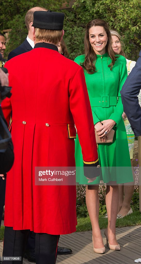 Catherine, Duchess of Cambridge attends Chelsea Flower Show press day at Royal Hospital Chelsea on May 23, 2016 in London, England. The prestigious gardening show features hundreds of stands and exhibition gardens.